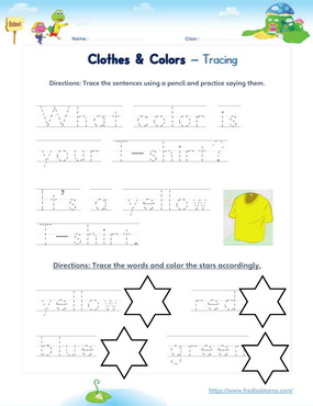clothes colors sentences words
