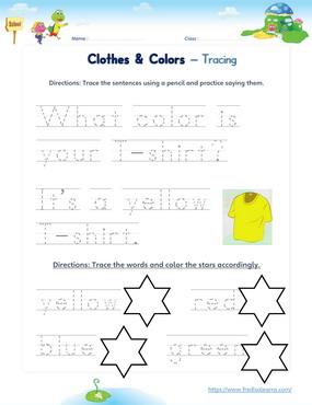 clothes colors sentences words