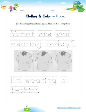 clothes colors sentences