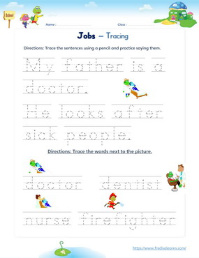 jobs sentence word tracing