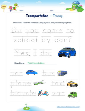 transportation word sentence tracing