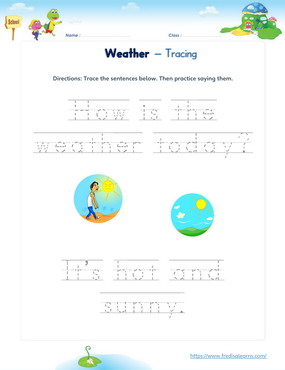 weather clothes sentence tracing